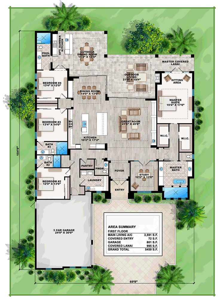 Florida Mediterranean House Plan 75975 Level One