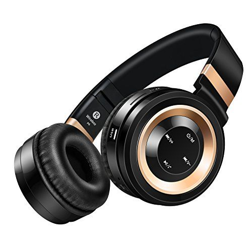 Special Offers - Wireless Headphones Sound Intone P6 Stereo Bluetooth Headphones with Microphone Over-ear Foldable Portable Music Bass Headsets for Cellphones Laptop Tablet TV Headphones (Black Gold) - In stock & Free Shipping. You can save more money! Check It (June 15 2016 at 11:49AM)…