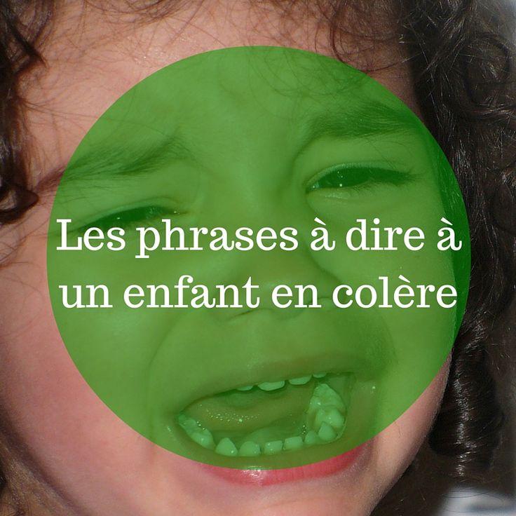 Les phrases à dire à un enfant en colère