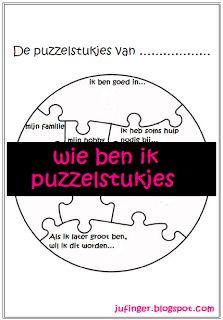 Wie ben ik - puzzelstukjes. Leuk als kennismaking aan het begin van het schooljaar en/of voor in het plakboek!