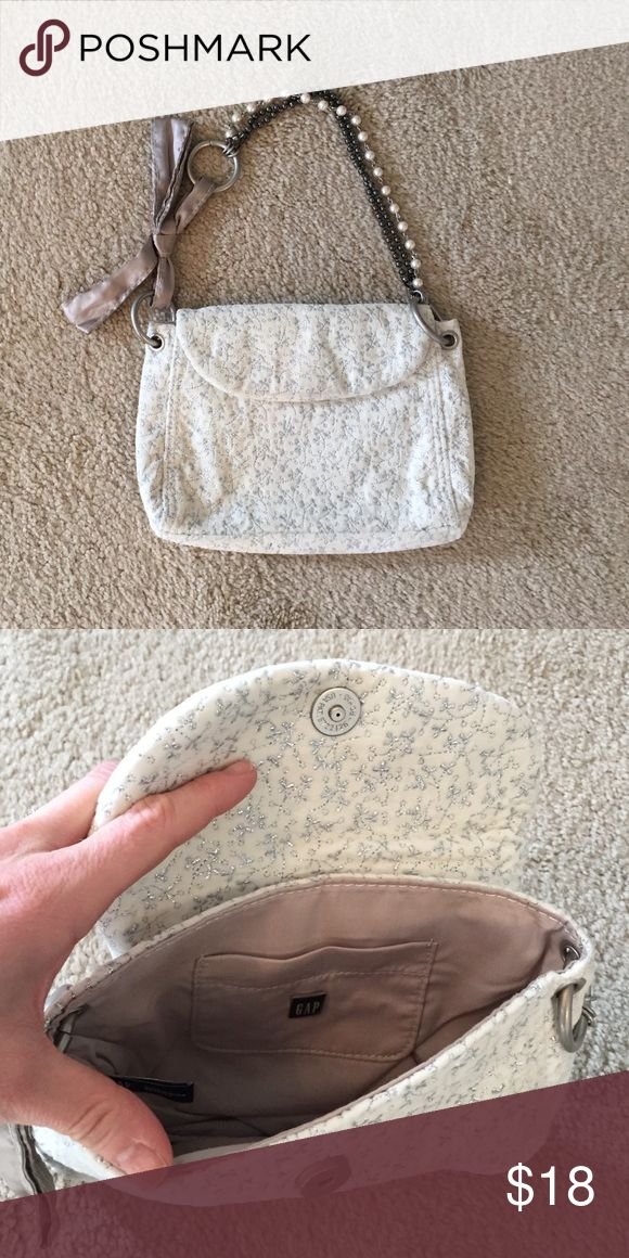 Gap purse Super cute evening purse, also can be used as a clutch. Ivory with silver stitch design. GAP Bags Clutches & Wristlets
