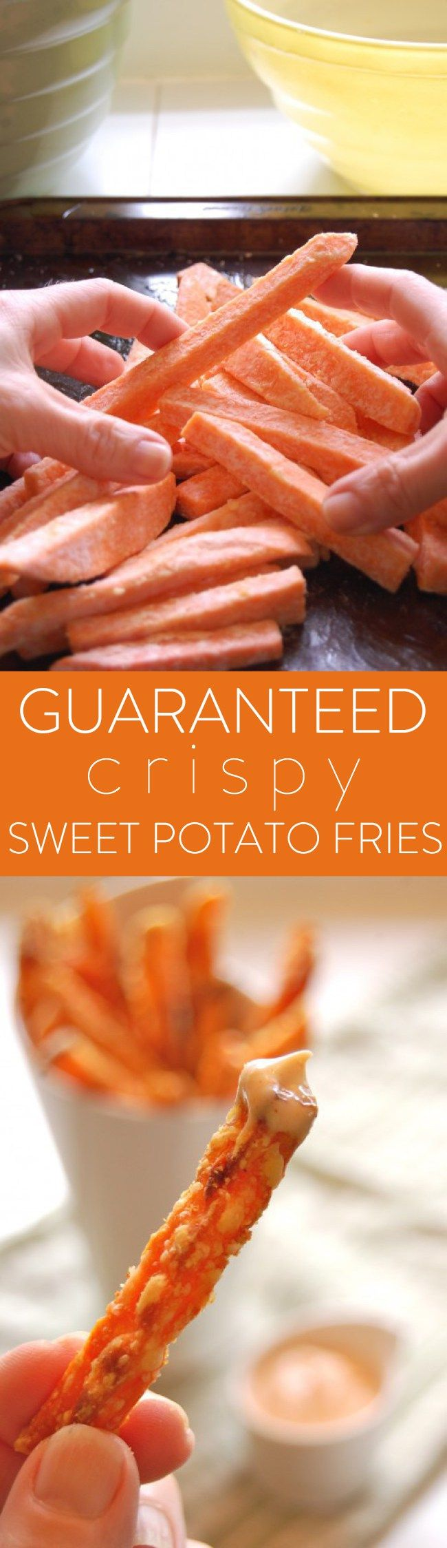 Guaranteed crispy sweet potato fries. No more mush in the mouth.
