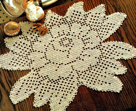 PDF Vintage 1970s 'Rose Garden' Lacy Filet Crochet