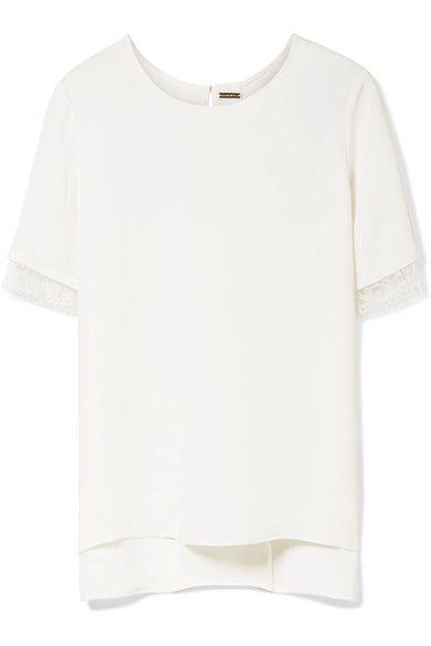 ADAM LIPPES Asymmetric lace-trimmed silk-satin crepe top. #adamlippes #cloth #