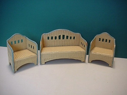 """Doll House Painted Cardboard """"Wicker"""" Porch Furniture Antique 