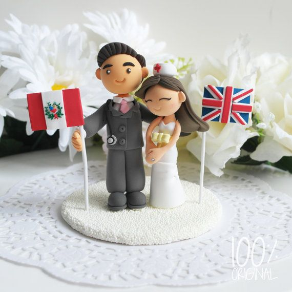 Custom Wedding Cake Topper- International couple theme but obviously Canadian and British.