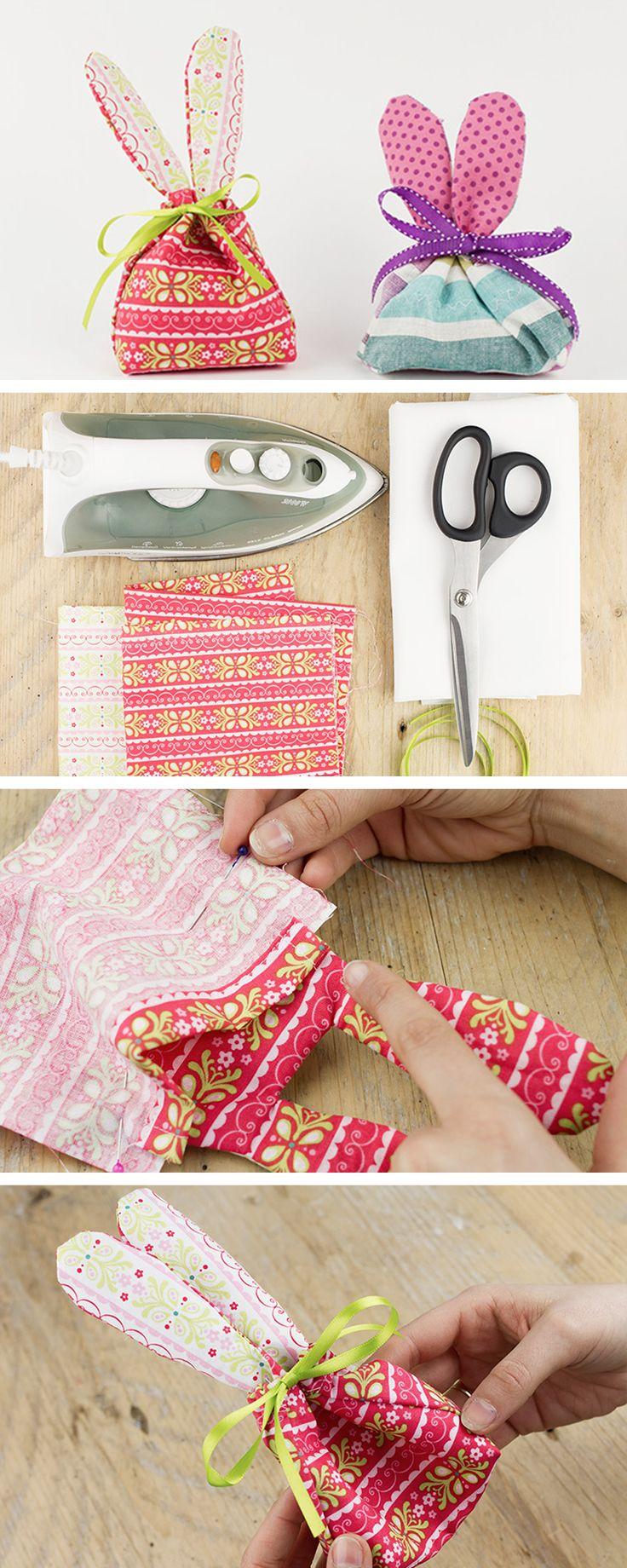 Sacchetti handmade a forma di coniglietto: il progetto DIY perfetto per Pasqua! http://it.dawanda.com/tutorial-fai-da-te/cucire/fare-sacchetto-forma-coniglio