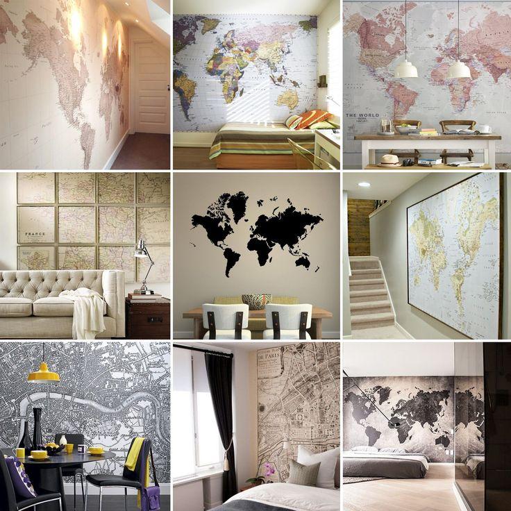 inspiration carte du monde murale - moodboard world map on the wall - www.pierrepapierciseaux.be