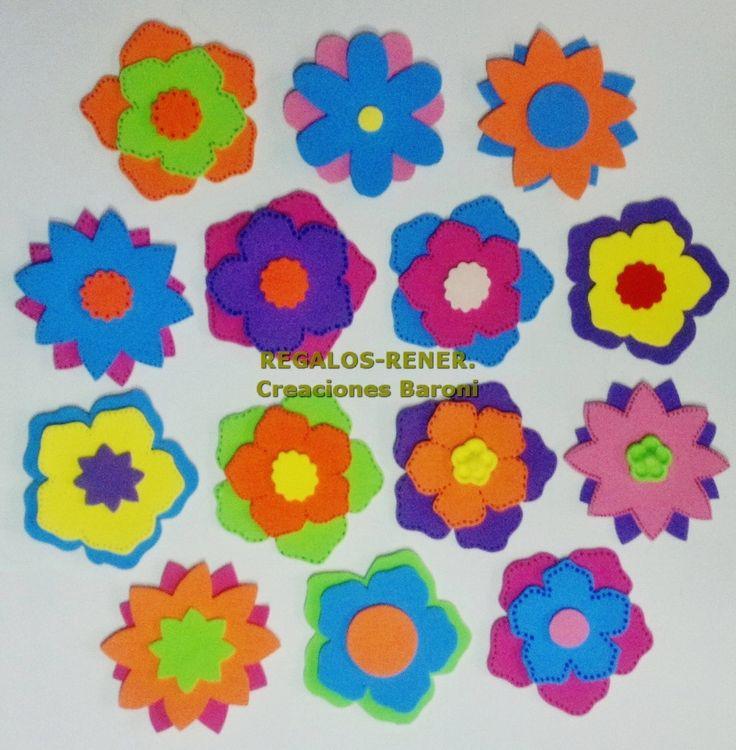 1000 images about formas y figuras flores mariposas - Flores de goma eva ...