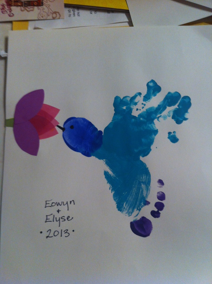 Hummingbird Foot And Handprint Art Handprint Art Square