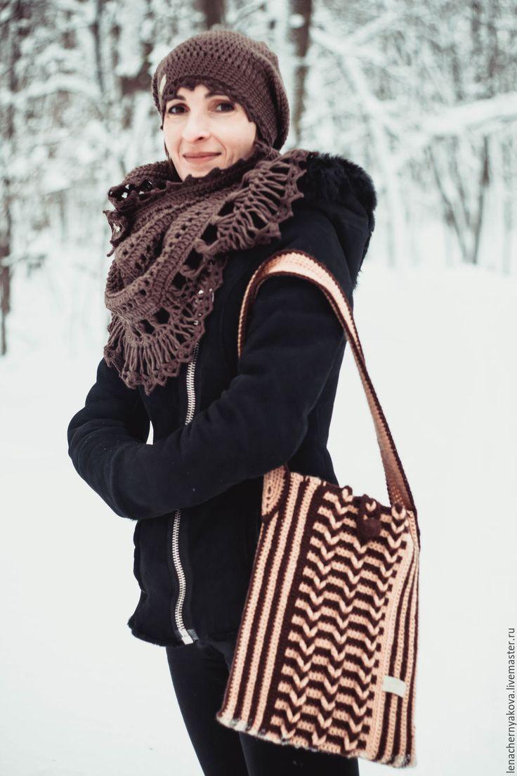 """Купить Cумка-бохо вязаная коричневая """"Волшебные косы"""" - коричневый, в полоску, сумка с косами"""