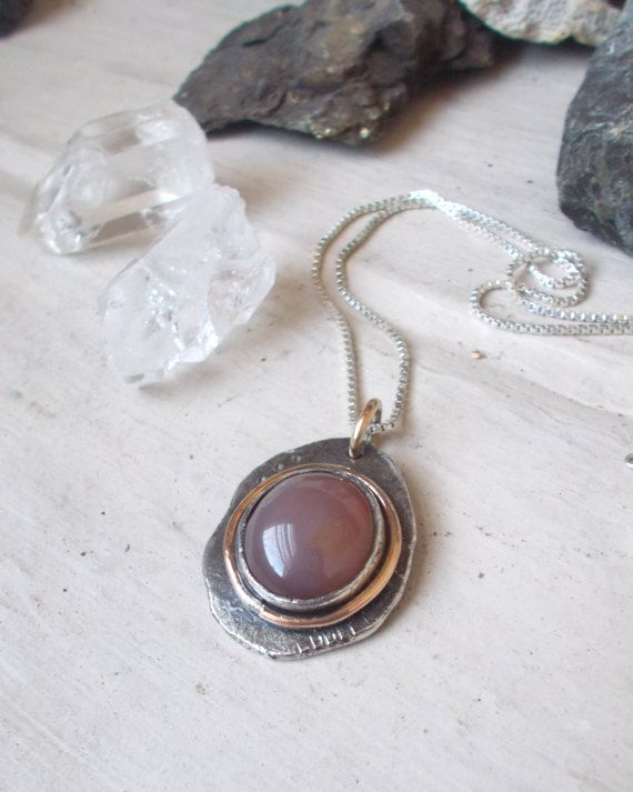 Plum agate & silver ingot pendant necklace 14 by CultivatedDreams