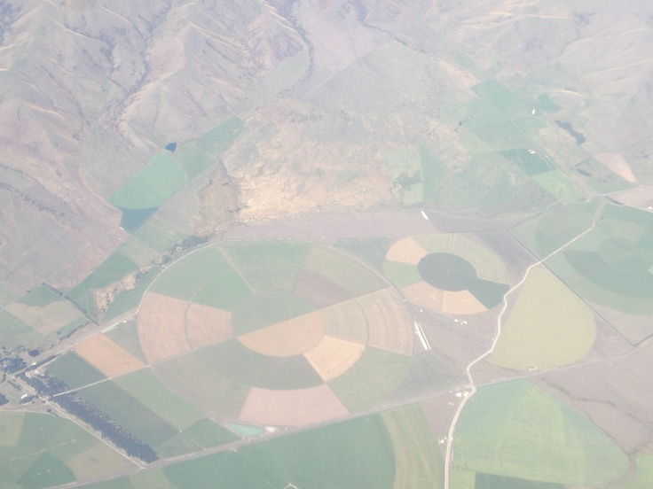 Taken from about 16,000ft - irrigation patterns around McKenzie Country, South Island, NZ