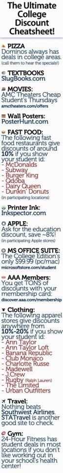The ultimate college discount cheat sheet. Because tuition costs enough, take advantage of businesses that want to help.