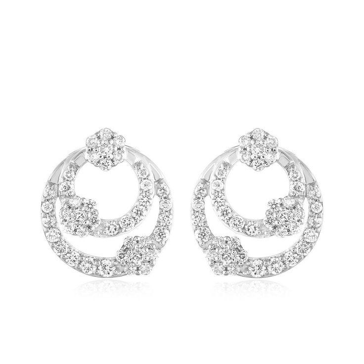 1/2 Ct Round Cut Real Diamond Double Circle Cluster Stud Earrings 950 Platinum #CaratsForYou #Stud #EngagementWeddingAnniversaryPromiseValentine