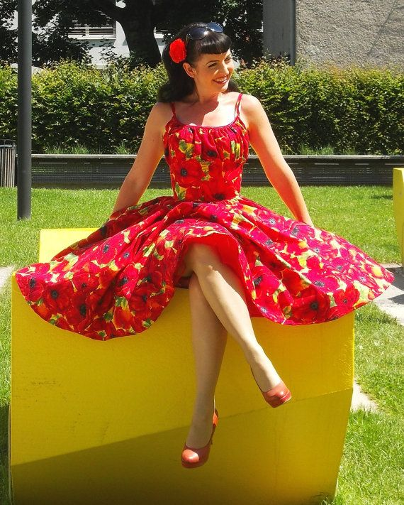 Pinup dress'Summer Poppies' PLUS SIZE by PinupDollCollection