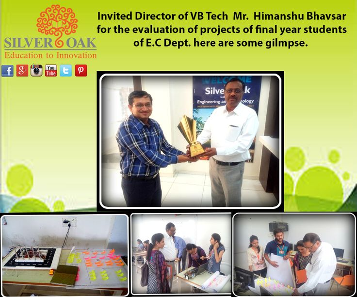 Silver Oak College Of Engineering & Technology invited The Director of VB TECH Mr. Himanshu Bhavsar for the evaluation of projects of final year students of Electronics and Communications Department. Here are some of its glimpse. He evaluated their work on the basis of concept ,their technical know how, its industrial usage,and also their team work . ‪#‎innovativeprojects‬ ‪#‎educationtoinnovation‬ ‪#‎socet‬ ‪#‎silveroak‬ ‪#‎guidance‬ ‪#‎projects‬ ‪#‎evaluation‬ ‪#‎ahmedabad‬ ‪#‎career‬