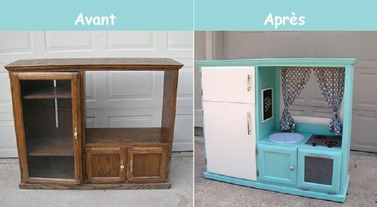 Comment transformer un meuble télé en cuisinette pour enfant!