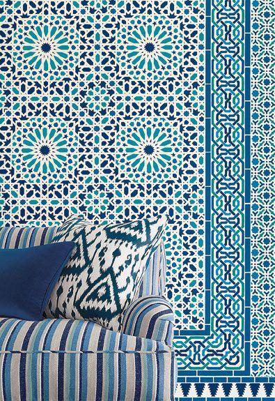 Really? So beautiful. Schumacher Byzantium wallcoverings: Nasrid Palace mosaic
