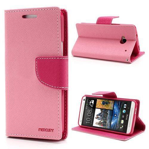 Goospery Mercury roze booktype hoesje voor HTC One m7