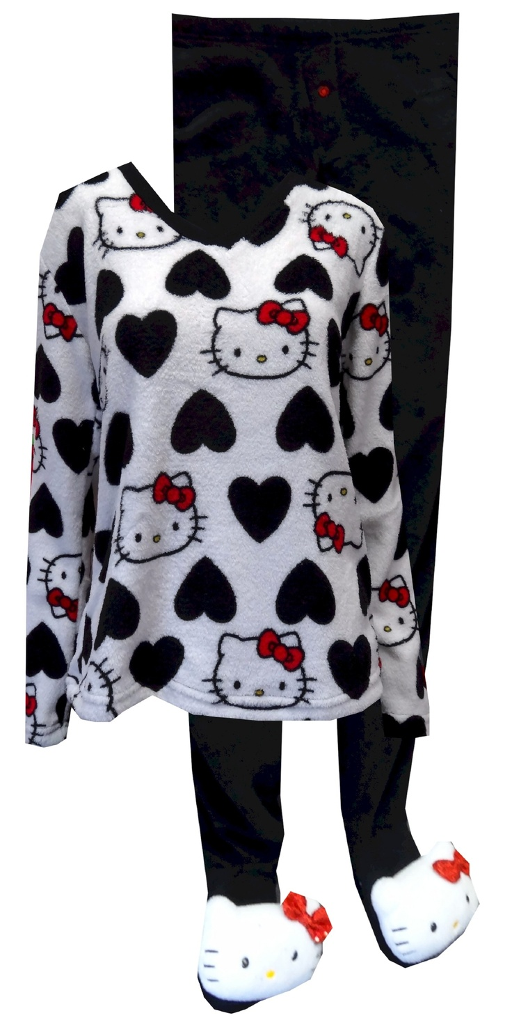 I Love Hello Kitty Two Piece Plush Footie Pajama  Our softest pj's ever! These plush pajama sets for women feature everyone's favorite Kitty. The all over printed top features v-neck styling. The footie pajama bottoms have gripper bottoms with polyester-filled 'Hello Kitty Head Toe Warmers complete with a sequined bow' and are slightly elasticized at the back of the ankle. Junior Cut. $35