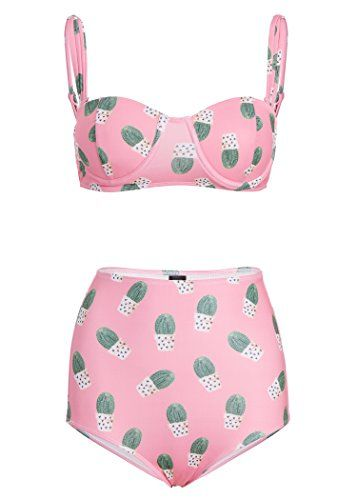 Womens Pink Cactus High Waist Bikini Set Retro Swimsuit
