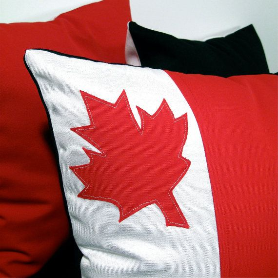 Red and White Pillow Cushion Cover - Maple Leaf - Decorative Canada Flag - 16 inch
