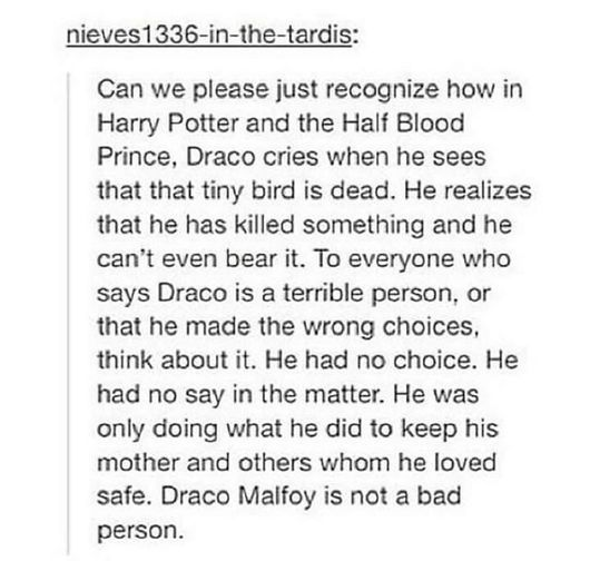 Book Draco is. Movie Draco…not so much. Jo has even publicly blamed Tom Felton (in a motherly way) for everyone liking Draco. She has said repeatedly that she never intended Draco to be so likeable.