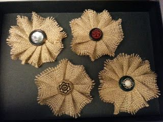 How to make Burlap Bows These are easy & layer with doily/lace/paper & add a pin in the center.