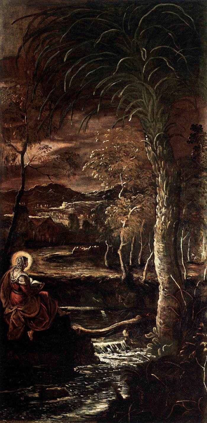 St Mary of Egypt. Tintoretto. 1582-1587. Oil on canvas.  425 x 211 cm. Scuola Grande di San Rocco. Venice.