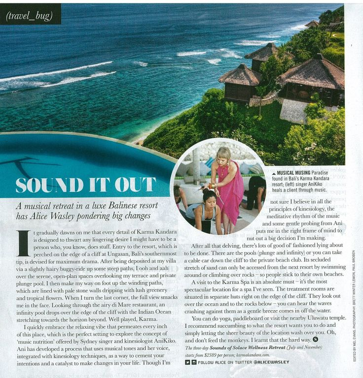 3 Day Sounds of Solace Bali retreats in July and November 2014 Karma Kandara - write up in Sunday Style http://www.karmakandara.com/3-day-sounds-of-solace-wellness-retreat-with-music-nutrition/