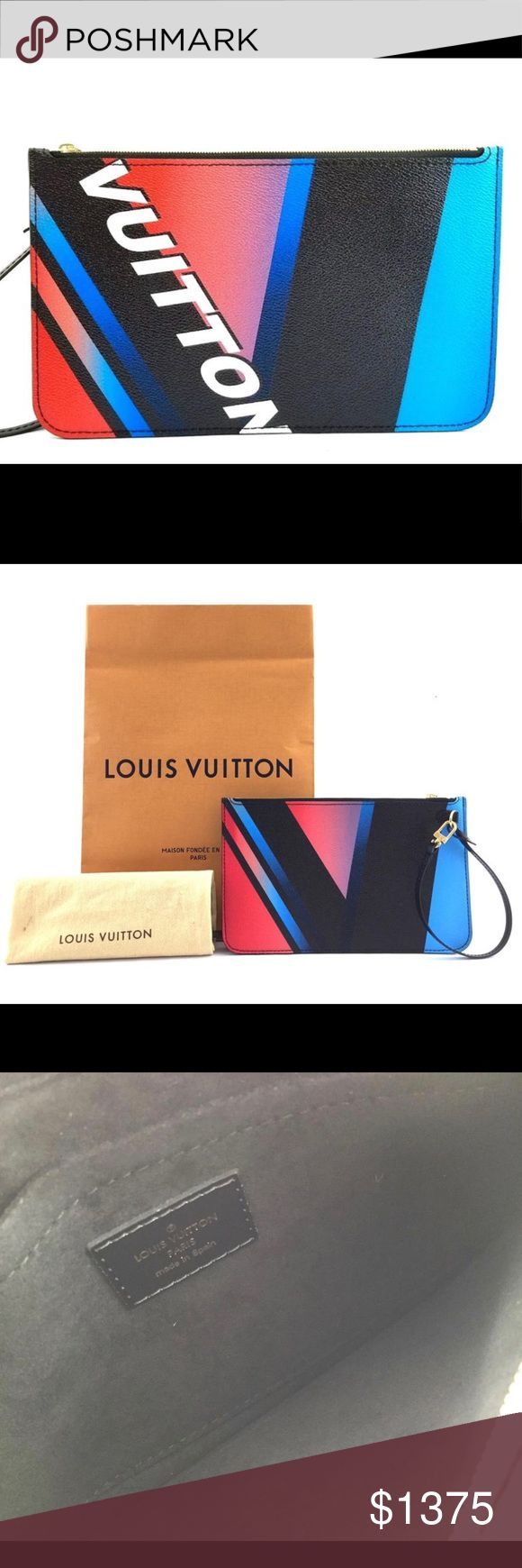 🦄 Rare Louis Vuitton pouchette from the Race 🦄 Rare authentic Louis Vuitton pouchette from the Race collection. Selling the poucheette only. Its great as a casual pochette with jeans as well as with dress. This pochette has a shimmer to it that none of the other Race collection styles had. Measures 9.7 x 6 x .25  inches. I can fit  phone, lipstick, money credit card and and a key inside this bag. New never used.  The interior has one large flat pocket. Comes with dust bag, shopping bag,