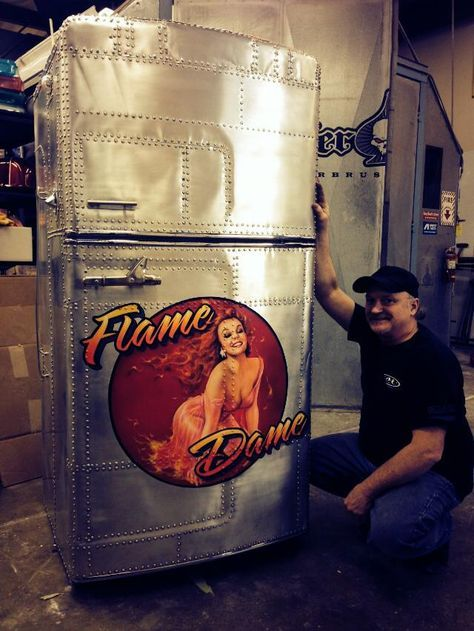 B-17 Bomber - Flame Dame Pinup - Riveted Metal Fridge - by Mike Lavallee at Killer Paint - www.killerpaint.com