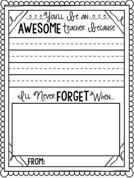 Student Teacher Memory Gift Book
