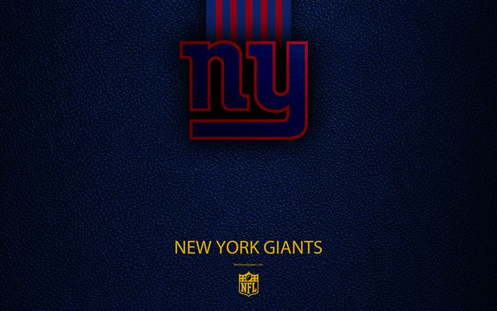 Download wallpapers New York Giants, 4k, american football, logo, leather texture, New York, USA, emblem, NFL, National Football League, Eastern Division