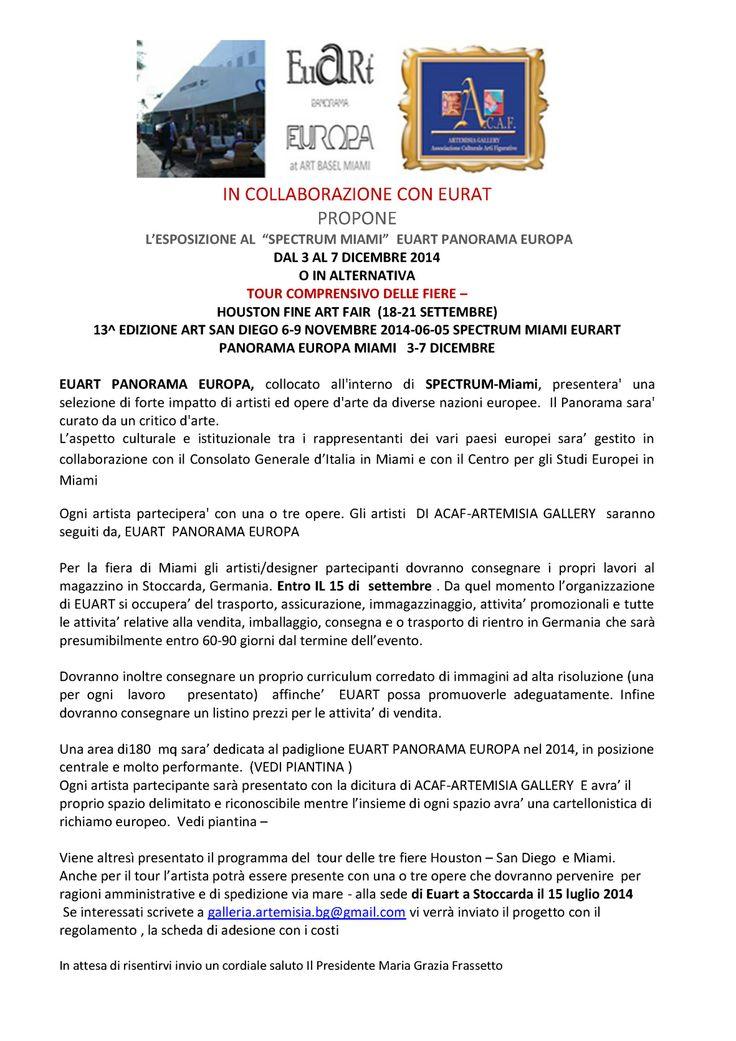 invito per ARTE FIERA MIAMI E TOUR DELLE TRE FIERE, DA SETTEMBRE A DICEMBRE 2014