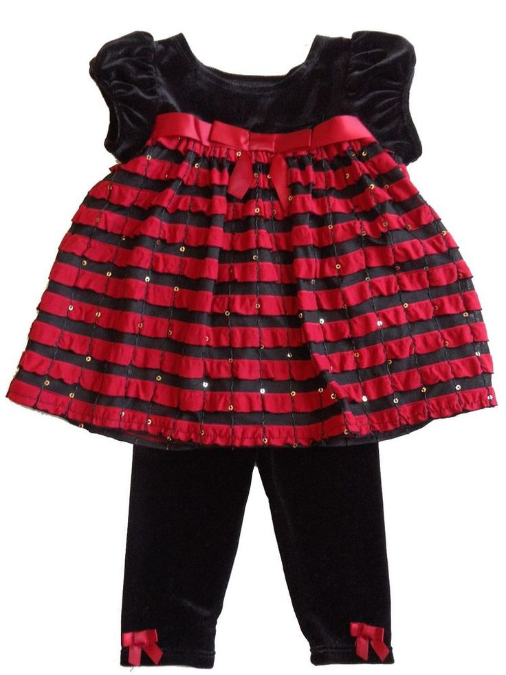 new BONNIE BABY 6 - 9 mo. girls RED RUFFLE HOLIDAY DRESS & PANTS SET - CHRISTMAS #BonnieBaby #DressyHoliday
