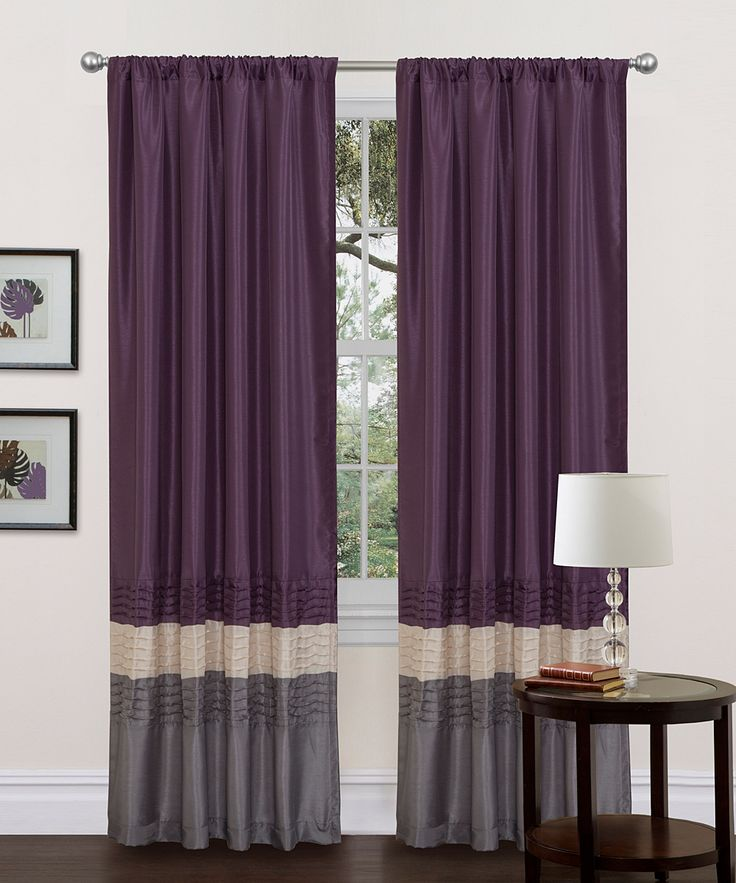 Gray & Purple Mia Curtain Panel - Set of Two Wants these for my next ...
