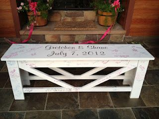 signed wedding bench.. LOVE LOVE LOVE! Better than a guest book you'll never open again. Wish I had thought of this!
