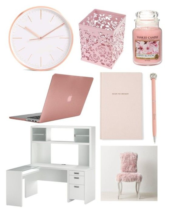 """Studying pink"" by emmanason ❤ liked on Polyvore featuring interior, interiors, interior design, home, home decor, interior decorating, Harrods, Bush Furniture, Kate Spade and Yankee Candle"