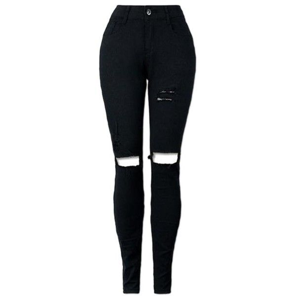 Black XL High Waisted Skinny Ripped Jeans (36 PEN) ❤ liked on Polyvore featuring jeans