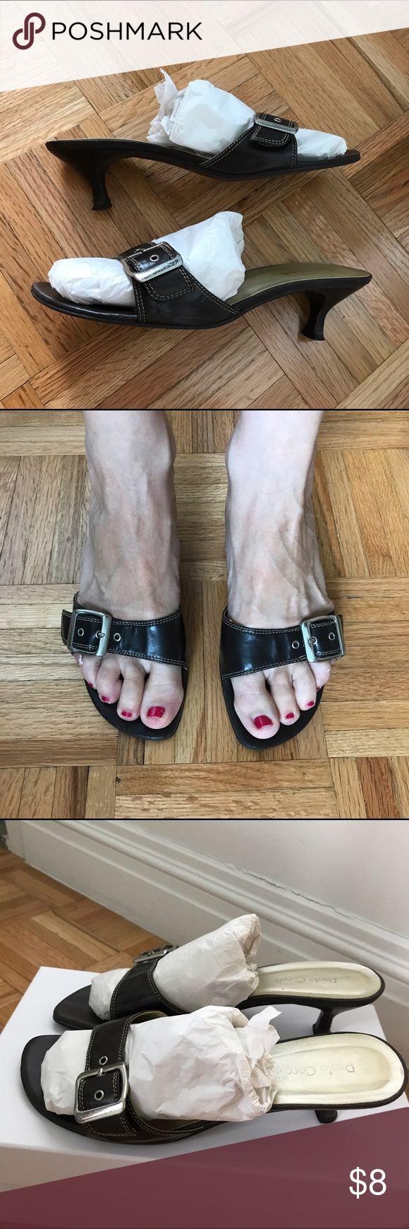 "Dark Brown Kitten Heel Mule Sandal Dark Brown Kitten Heel Mule Sandal. Buckle accent. Paolo Corelli. Leather Upper. 2 1/4"" Heel. Size 7 1/2. Paolo Corelli Shoes Sandals"