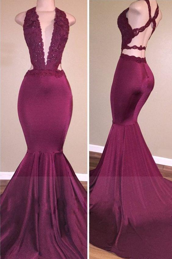 Sexy Mermaid Prom Dresses Deep V-Neck Lace Beading ...