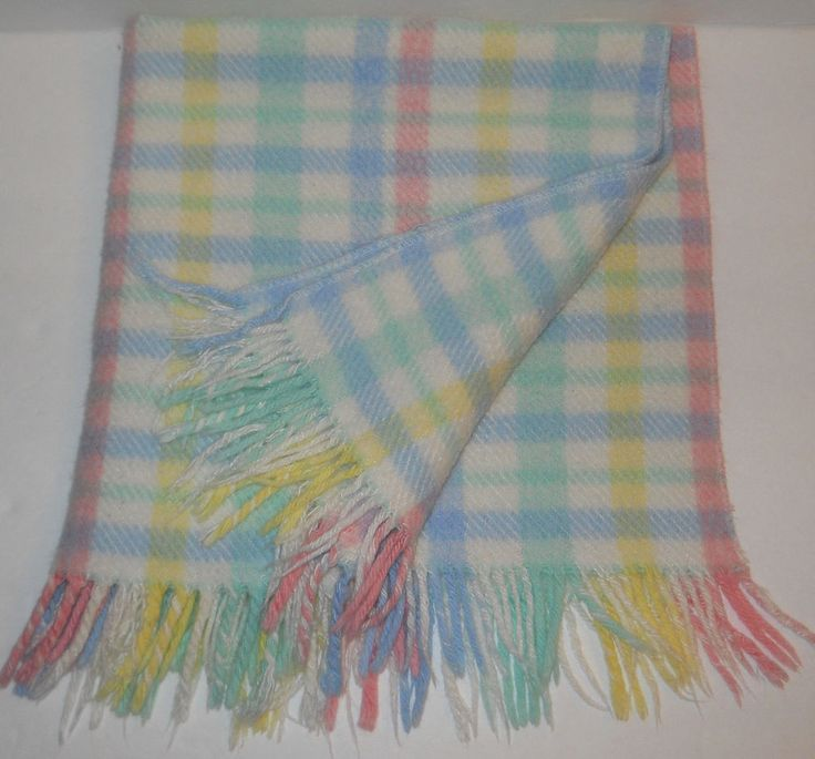 "Pastel Plaid Acrylic Baby Blanket Knit Woven Fringe 30"" x 30"" Thick Lap White #Unknown"