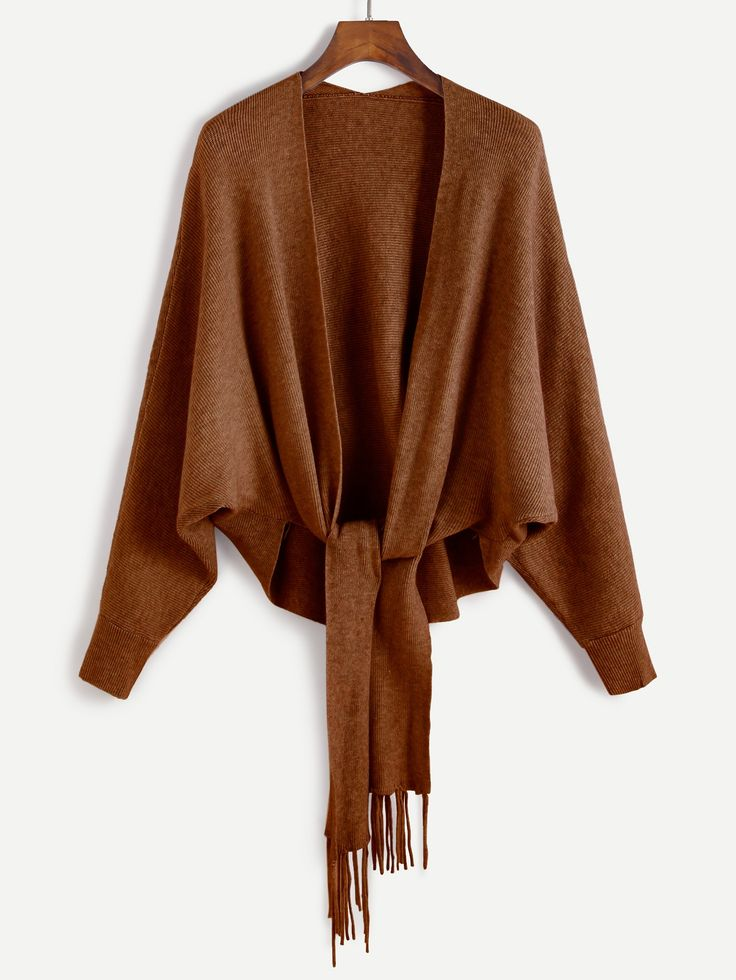 24$ Watch here - http://di6jd.justgood.pw/go.php?t=12149 - Khaki Batwing Sleeve Fringe Trim Sweater Coat