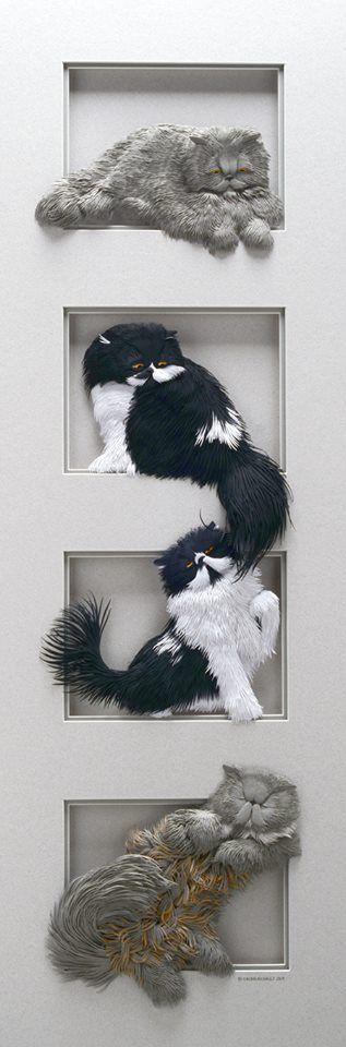 Magnifiques Sculptures en Papier - Calvin Nicholls - 4 Chats