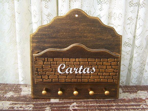 Porta Cartas e Chaves Tijolinho Dourado