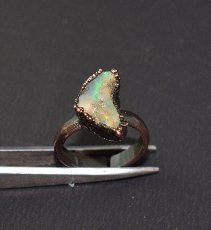 High Fire AAA Raw Opal Gemstone Electroformed Handmade Adjustable Ring US Size-6 #Handmade #Band