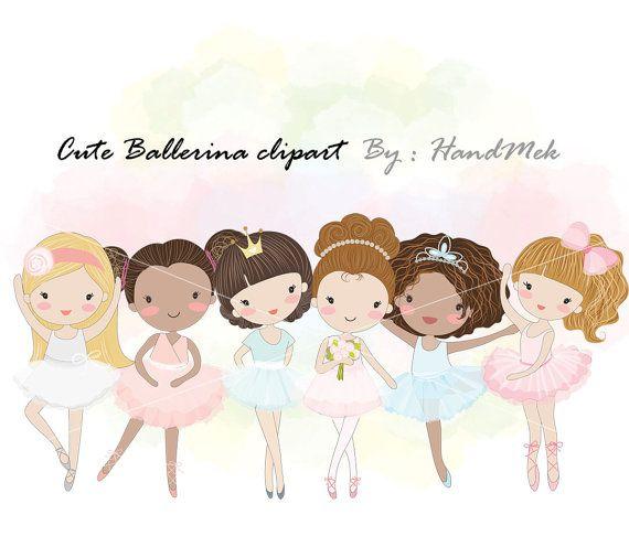 Ballerina clipart  girl ballet dancingblack girl by HandMek
