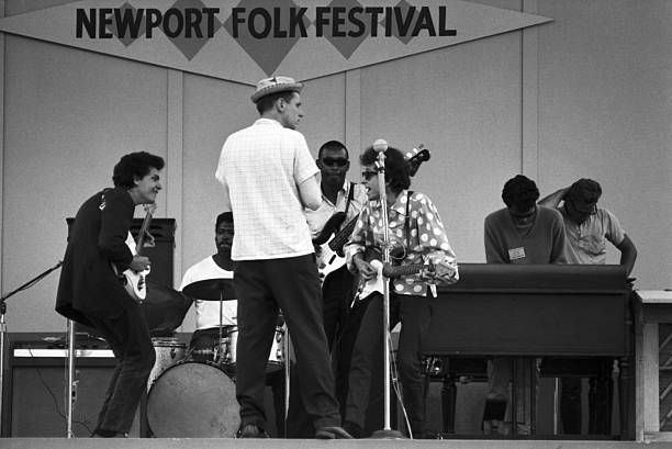 Jul 25 1965 Bob Dylan rehearses with Mike Bloomfield Sam Lay Jerome Arnold and Al Kooper before his renowned electric debut at the Newport Folk...